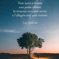 LUIS SEPULVEDA - Non serve a niente una porta chiusa: la tristezza non può uscire e l'allegria non può entrare.