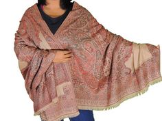 "Beige Paisley Wool Fashion Wrap - Ladies Evening Dress Shawl Afghan 80"""