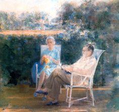 Mis padres en el jardín. 1978-1992. Óleo sobre lienzo. 190 x 200 cm. Obra de Carmen Laffón.