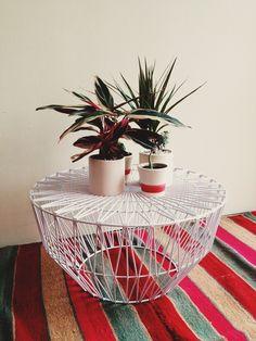 Geometric wire table - modern twist to indoor/ outdoor furniture Decor, Table, Interior Inspiration, Furniture, Ottoman Table, Home Furniture, House Design Photos, Home Decor, House Interior