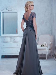 291817160e95 Short Sleeves Lace and Chiffon Mother of The Bride Dresses 5701017 Bride  Dresses