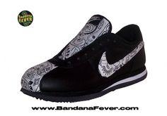 Bandana Fever - Bandana Fever Custom Bandana Nike Cortez Leather Black/White/White Bandana, $189.99 (http://store.bandanafever.com/bandana-fever-custom-bandana-nike-cortez-leather-black-white-white-bandana/)
