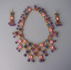 Haskell bib necklace earrings, pink, purple, blue rhinestones