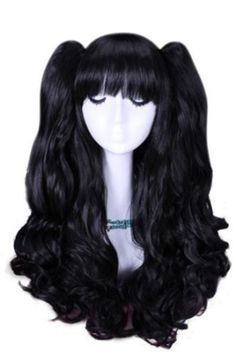 Amazon.com : US Warehouse Fast Shipping 50cm/20 Inch Lolita Long Curly Girl Wave Colorful Cosplay Wig 3 Pieces Ponytails Wig Set Full Wigs (Black&blue) : Hair Replacement Wigs : Beauty