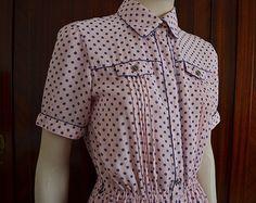 Vestito vintage rosa con pallini blu Vestito pinup Stile Rockabilly