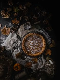 """sweetoothgirl: """" Brown Butter Chai Pumpkin Pie with Sugared Sage """" Holiday Pies, Holiday Baking, Pumpkin Pie Recipes, Fall Recipes, Dark Food Photography, Life Photography, Portrait Photography, Have A Lovely Weekend, Brown Butter"""