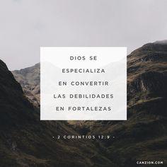 «Cada vez él me dijo: «Mi gracia es todo lo que necesitas; mi poder actúa mejor en la debilidad». Así que ahora me alegra jactarme de mis debilidades, para que el poder de Cristo pueda actuar a través de mí». —2 Corintios 12:9