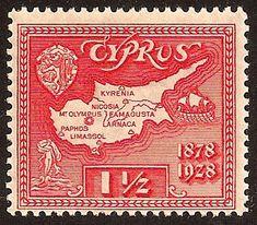 İngiliz yönetimindeki Kıbrıs pulu (1928) : Adayı 1878 yılında elegeçiren İngiltere, 50.ci yılını kutluyor!!!