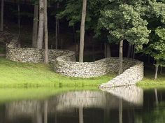 Inspiration for my property wall. [stone wall by Andy Goldsworthy at Storm King] Inspiration for my property wall. [stone wall by Andy Goldsworthy at Storm King] Landscape Art, Landscape Architecture, Landscape Design, Land Art, Outdoor Art, Outdoor Gardens, Andy Goldsworthy Art, Storm King Art Center, Dry Stone