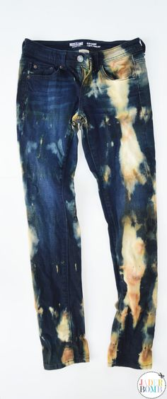 Tea Stained Bleached Blue Jeans