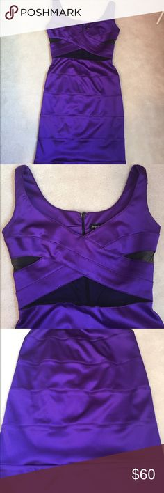"Bebe Satin Purple Bandage Dress Love this sexy night out dress! Mesh cross cross detail at the bust gives it a really cute feminine touch. Tighter around the bust - I wear a 32B and this flaunts the girls so well! 😉 I'm 5'2"" and this goes right above my knees. Make me an offer! bebe Dresses"
