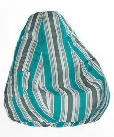 Look at this #zulilyfind! Teal Stripe Teardrop Beanbag #zulilyfinds