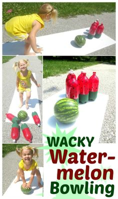 """August Home Party - """"National Watermelon Day"""": Watermelon bowling- a super fun game for Summer! Great for cook outs, Summer parties, family fun days, or for a WACKY watermelon day. Watermelon Day, Watermelon Birthday Parties, Birthday Party Games, First Birthday Parties, Girl Birthday, First Birthdays, Watermelon Crafts, Birthday Basket, Birthday Ideas"""