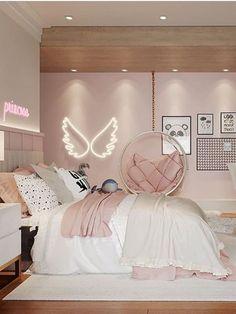Cute Bedroom Decor, Bedroom Decor For Teen Girls, Room Design Bedroom, Girl Bedroom Designs, Stylish Bedroom, Room Ideas Bedroom, Luxury Kids Bedroom, Bedroom Wallpaper Luxury, Ikea Teen Bedroom