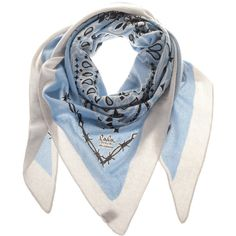 LALA BERLIN Paisley Light Blue Cashmere triangle scarf ($200) ❤ liked on Polyvore featuring accessories, scarves, blue, light blue shawl, triangle shawl, light blue scarves, triangular scarves and blue shawl