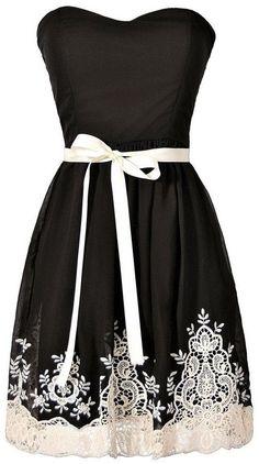 Nataya Black & Ivory Embroidered Strapless Dress