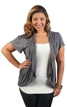 plus size short sleeve peplum shrug