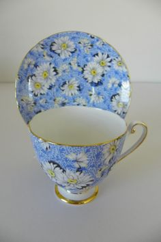 Shelley Bone China Cup & Saucer Blue Daisy Chintz For sale on Ruby Lane