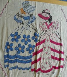 Antique VTG Southern Belle Embroidered Linen Coverlet Bedspread 7'x6' Full Queen