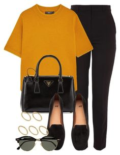 """#14706"" by vany-alvarado ❤ liked on Polyvore featuring Topshop, Prada, H&M, Ray-Ban and Made"