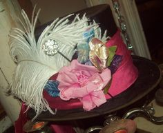 Mad Hatter Hat ~ Rust & Roses