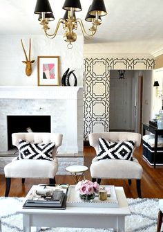 Black White Living Room Decor // Ikea Pillows-orientation of the chairs to the fireplace. Living Room Decor Ikea, My Living Room, Home And Living, Modern Living, Cozy Living, Kitchen Living, Small Living, Luxury Living, Wallpaper Inspiration