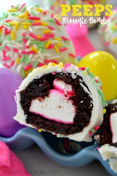 These Peeps Brownie Bombs are a delectable treat for any marshmallow lover…