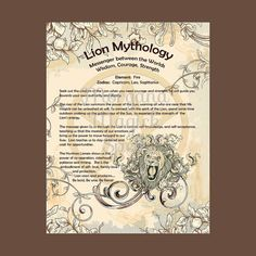 LION MYTHOLOGY, Digital Download,  Book of Shadows Page, Grimoire, Scrapbook, Spells, Wiccan, Witchcraft,