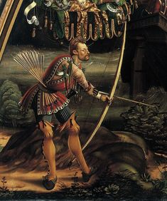 The Prague archer though dating around 1510 the bow and arrows are a very good representation of a medieval heavy draw longbow. Archery Gloves, English Longbow, Medieval Archer, 15th Century Clothing, Medieval Paintings, Illumination Art, Landsknecht, Traditional Archery, Medieval Manuscript