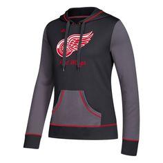 Women's Adidas Detroit Red Wings Script Pullover Hoodie, Size: Medium, Black