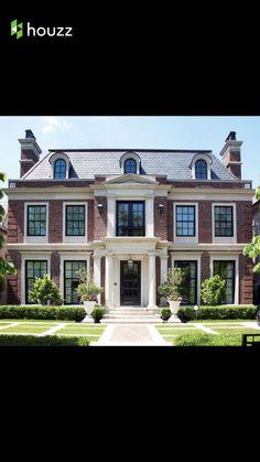 Black Windows Light Trim Red Brick House