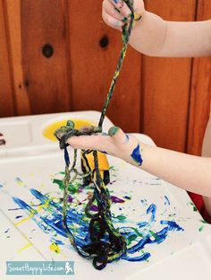 Painting with Yarn | Fun Preschool or Toddler Art Activity