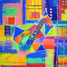 """'Saxophone in a fish' // © 2014, Jeremy Aiyadurai. All Rights Reserved // 24"""" by 24"""" // acrylic on exhibition canvas.// $270 // Purchase Prints here: http://jeremy-aiyadurai.artistwebsites.com"""