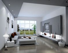 Stunning Living Room Interior Design With Amazing Led Lighting Above Floating Shelves Under The Tv Wall Mounted Including Sectional Sofa And White Table On Rug And Wide Glass Window Living Room Interior Design: Ultimate Living Room Decoration living room