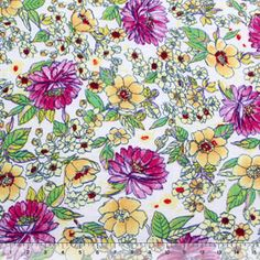 Fuchsia Painted Mums Floral Cotton Jersey Knit Fabric
