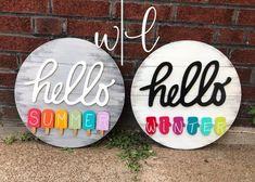 Handmade Year Round Seasonal Switch-Up Hello Wreath Sign Set Customizable Wooden Door Signs, Wooden Door Hangers, Diy Wood Signs, Summer Crafts, Holiday Crafts, Summer Diy, Crafts To Sell, Diy And Crafts, Stencil