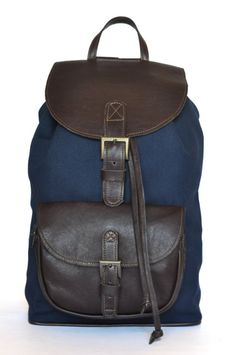 Check out this item in my Etsy shop https://www.etsy.com/uk/listing/200205956/genuine-leather-and-navy-canvas-backpack