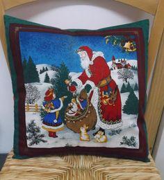 Santa Clause cushion cover, Father christmas scene, Xmas presents, festive gifts, Handmade gift, home made ideas, Home decor, cotton fabric