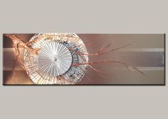 This is from our Origin series. Copper and cream acrylic paint with copper and silver leaf. Hand Fan, Habitats, Copper, Wall Decor, Sky, The Originals, Silver, Gold, Painting