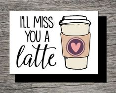 Printable Farewell Card /Printable Goodbye Card – I'll miss you a latte – Funny - Fasching Basteln Mit Kindern I Miss You Card, Miss You Gifts, Ill Miss You, Farewell Parties, Farewell Gifts, Farewell Card, Farewell Gift For Coworker, Goodbye Cards, Goodbye Gifts