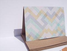 Geometric Note Cards - Fall Note Card Set, Geometric Thank You Notes, Modern Kraft Stationery Heather Grey Mustard Yellow Navy Blue Mint