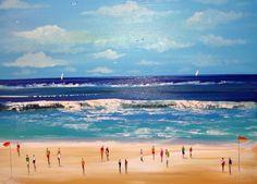 Beach seascape acrylic painting original canvas by Murayatiart, $400.00