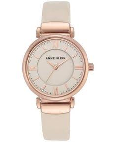 Anne Klein Women's Ivory Leather Strap Watch 36mm Ak-2666RGIV - Ivory/Cream