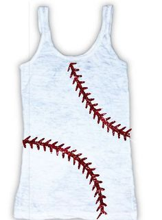 Baseballs your thing – so its time to show it off with this racer back tank!    Sparkling with awesome vinyl baseball stitching, this tank has