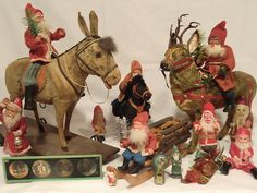 Large Superb German Santa Riding Fur Covered Majestic Reindeer | eBay