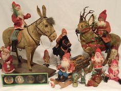 Large Superb German Santa Riding Fur Covered Majestic Reindeer   eBay