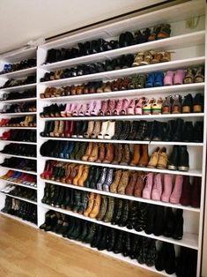 Shoe Wall in Master Walk-in Closet Master Closet, Closet Bedroom, Closet Space, Walk In Closet, Closet Mirror, Closet Wall, Master Suite, Bedroom Decor, Shoe Wall