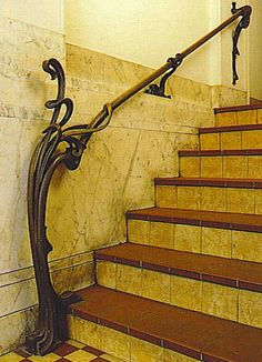 Victor Horta: Really beautiful railing.... (Not legal in public settings...thanks to the promoters of the ADA)