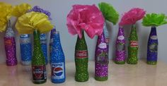mexican bling bottles for table decorations! Mexican Wedding Centerpieces, Mexican Centerpiece, Table Centerpieces For Home, Table Decorations, Decoration Party, Centerpiece Ideas, Bling Bottles, Mexican Celebrations, Mexican Party
