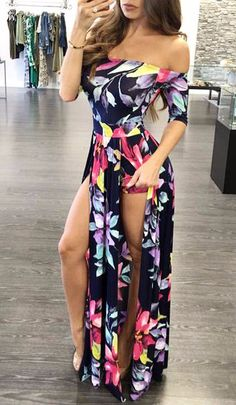 Short sleeve off the shoulder spring floral print double front slit maxi dress  Details    Polyester, Cotton  Broadcloth  Imported  Delicate Cold Wash  Fits True To Size